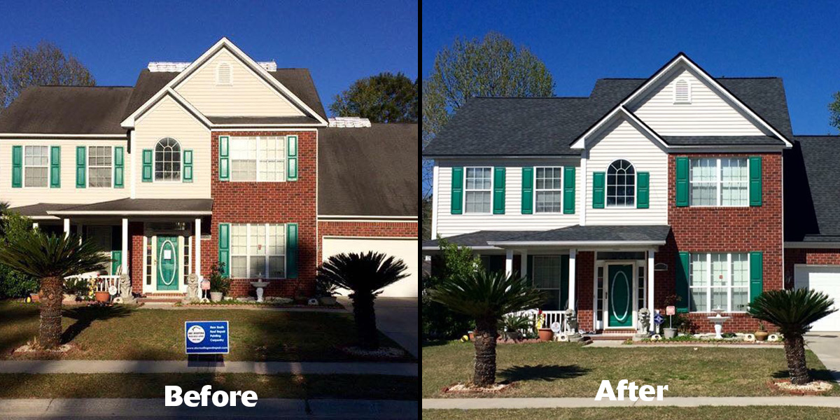 Before and after with Atlas Shingle featuring Scotchgard Protector
