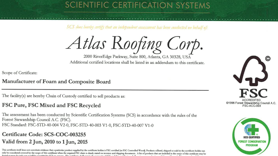 Atlas Roofing Receives Fsc Chain Of Custody Certification On