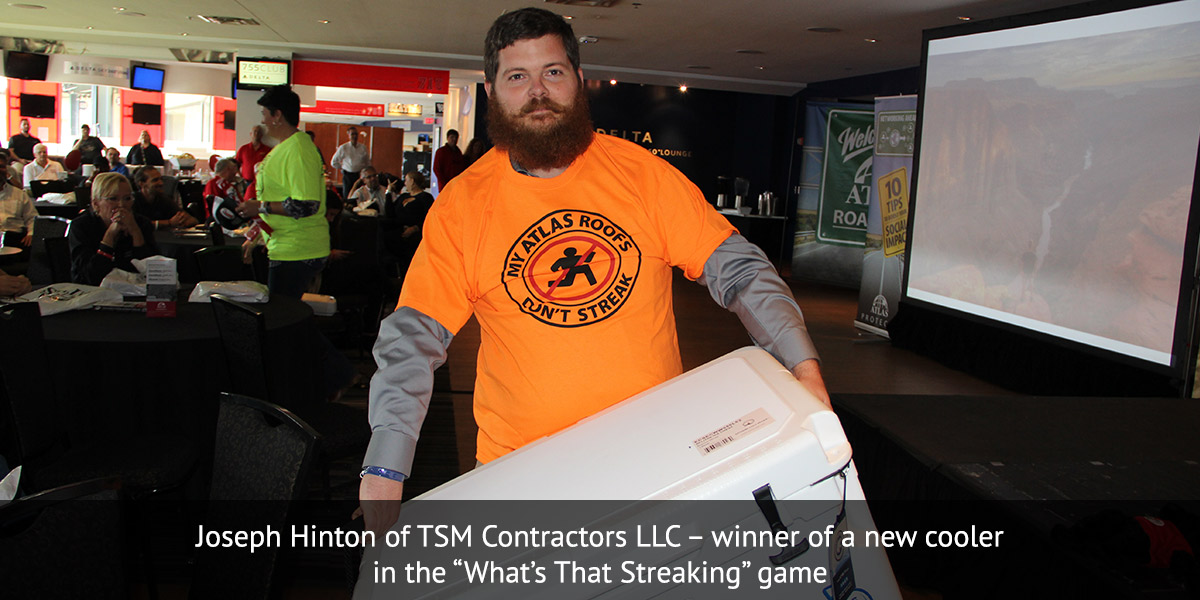 Joseph Hinton of TSM Contractors LLC ? winner of a new cooler in the ?What?s That Streaking? game