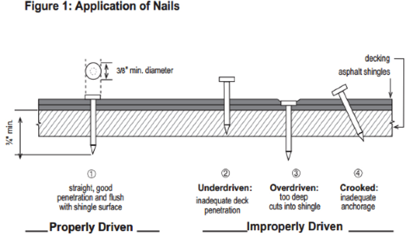 Application of nails for Roofing shingles