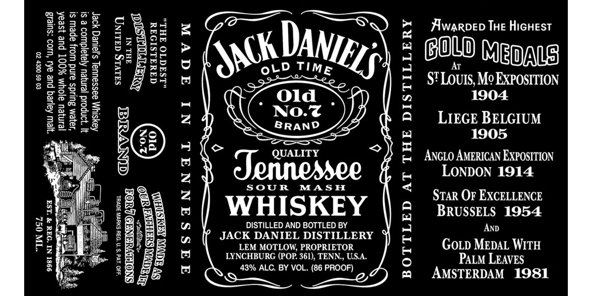Jack Daniels Liquor Label