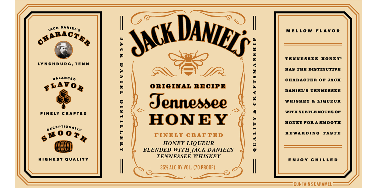 Jack Daniels Honey Liquor Label