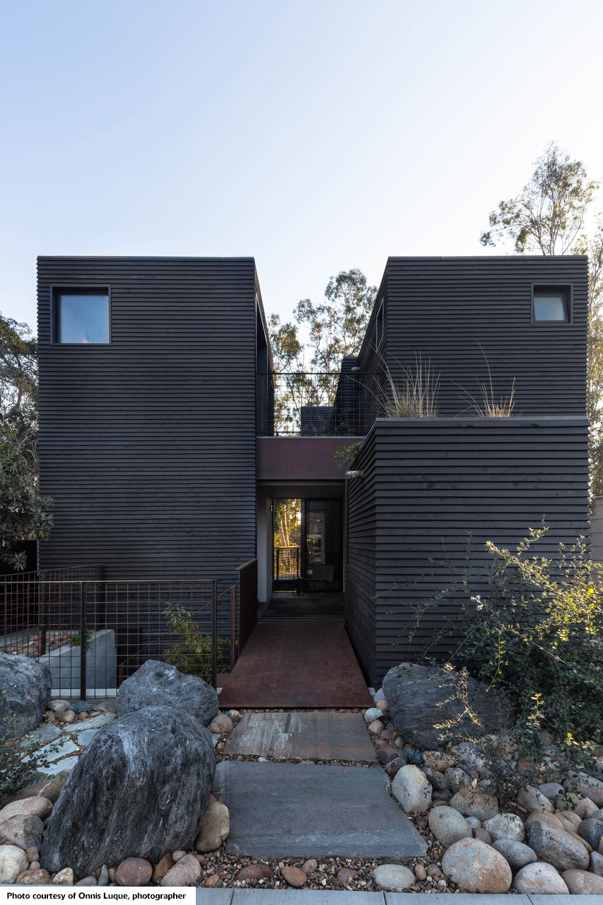 blackened Redwood House - San Diego