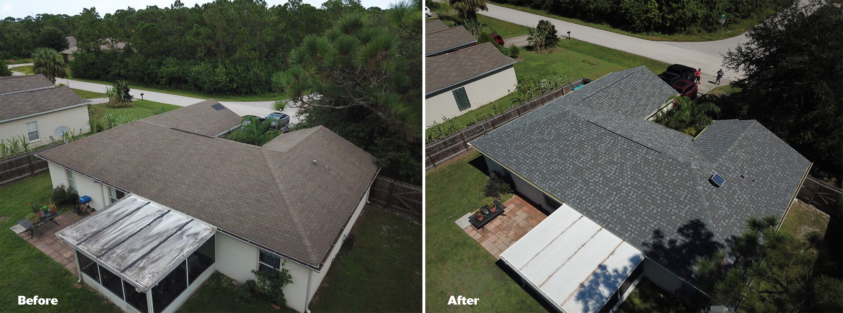 Langford roof - before and after