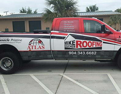 Mike Boucher Roofing truck wrap
