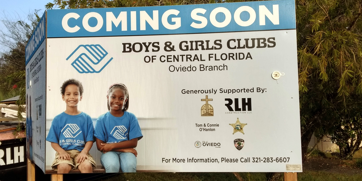 Boys & Girls Clubs of Central Florida - coming soon sign