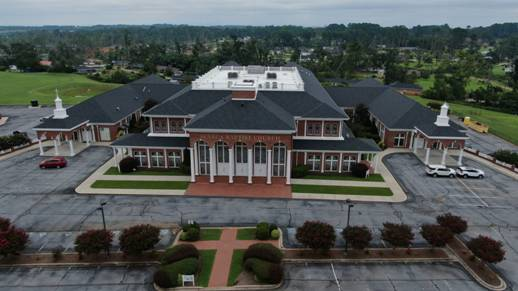 aerial shot of Seneca Baptist Church and its new Atlas roof